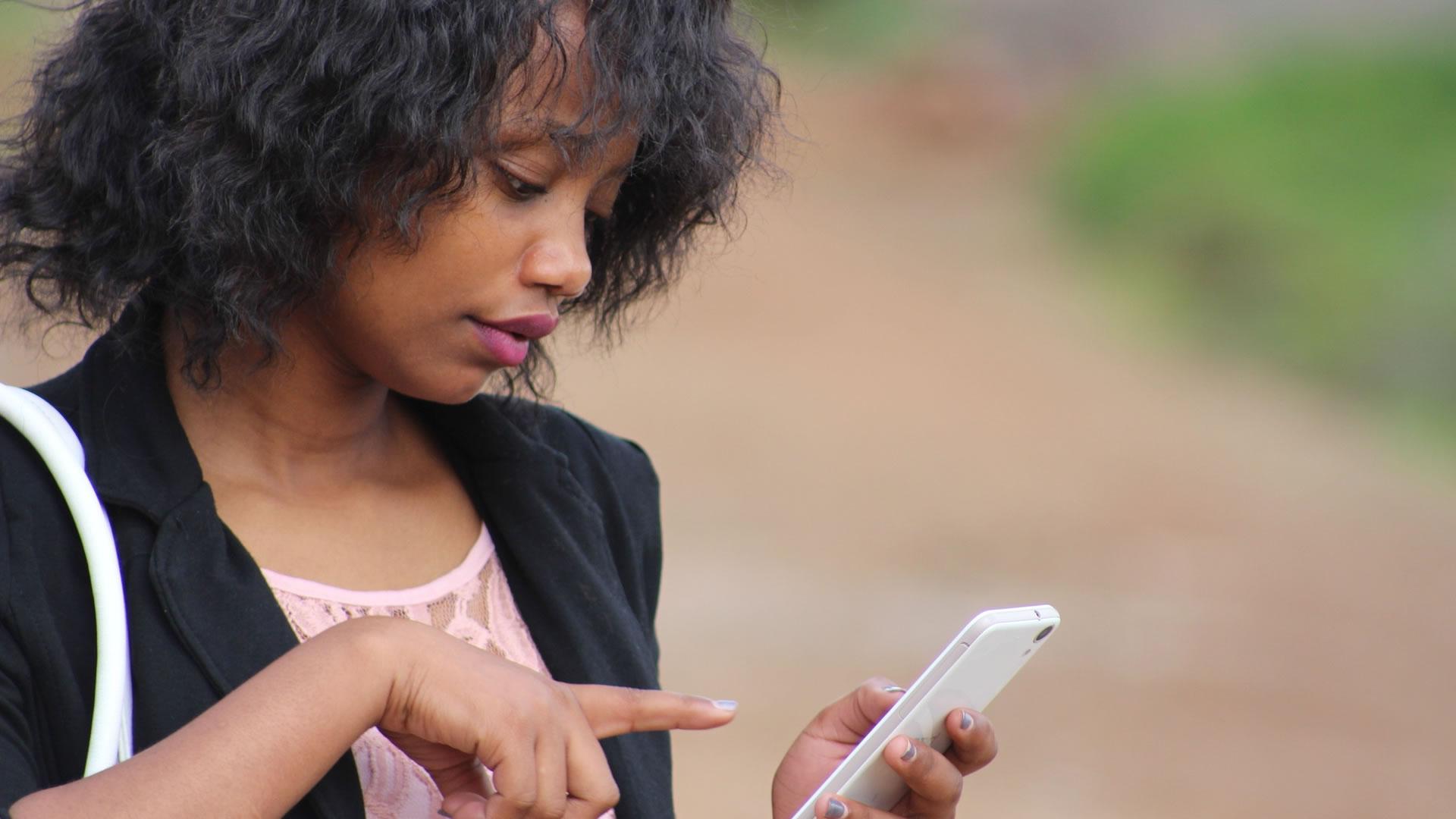 lady using phone